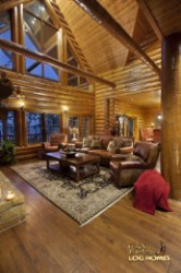 Log Home By Golden Eagle Log Homes - great room   glass wall