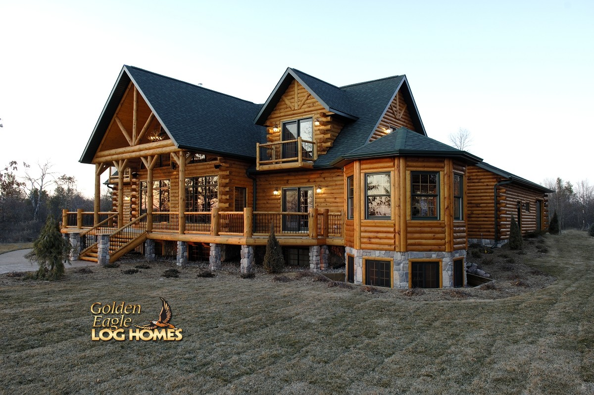 Golden eagle log and timber homes log home cabin for Log house plan