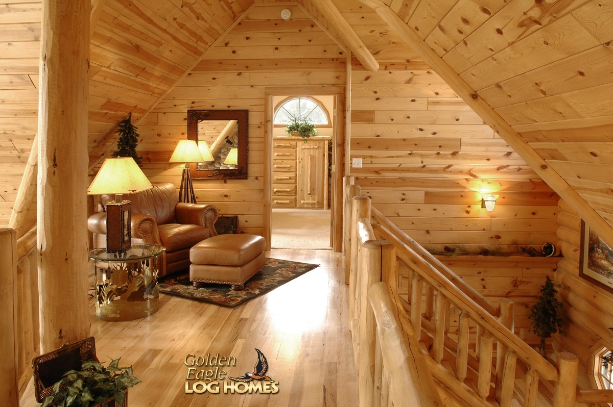 Golden eagle log homes log home cabin pictures photos custom double eagle deluxe 2668al - Medium sized loft houses ...