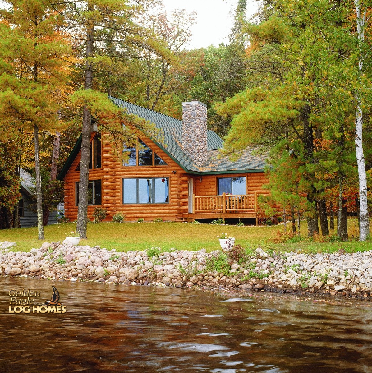 Golden eagle log and timber homes log home cabin for Custom lake homes