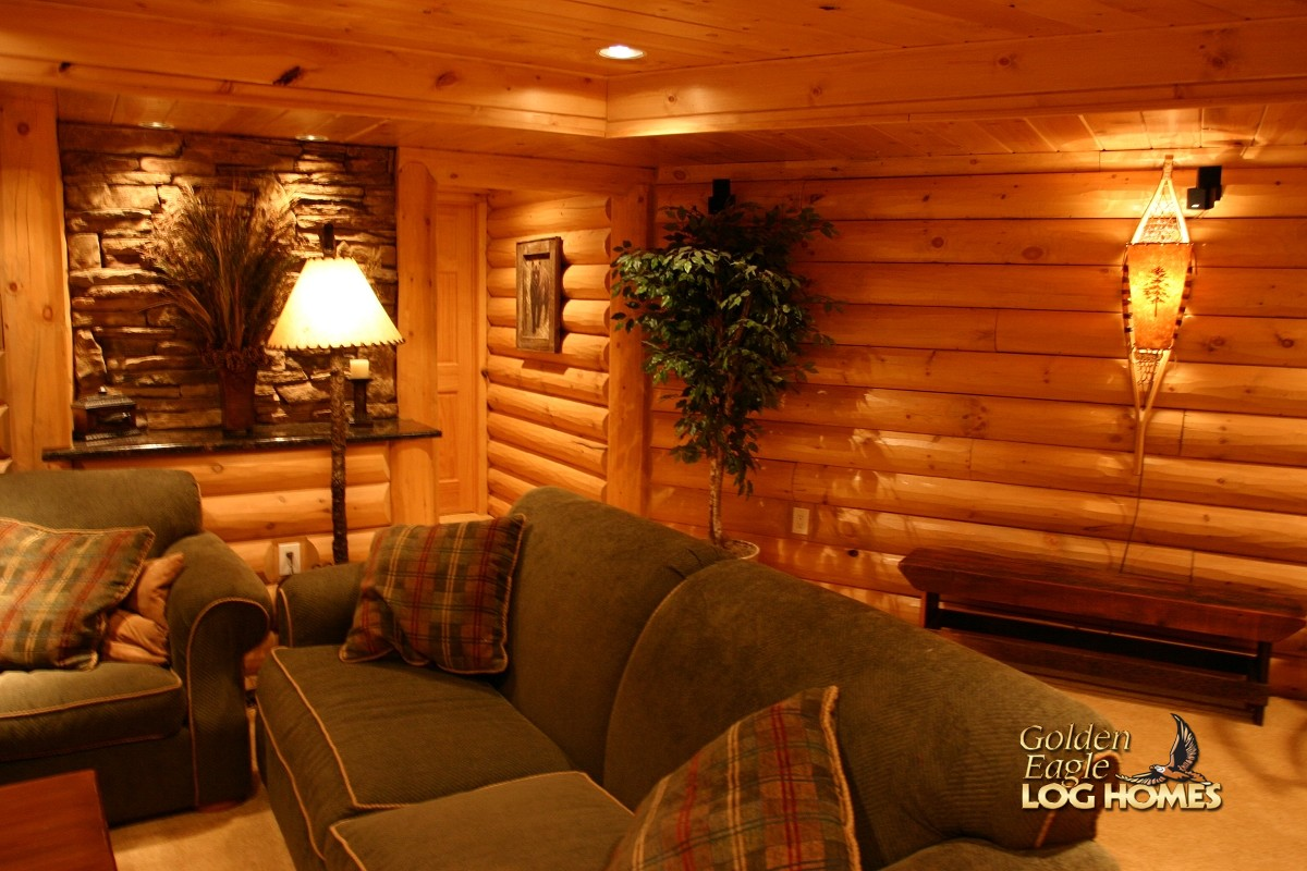 Golden eagle log and timber homes log home cabin for Log cabin with basement