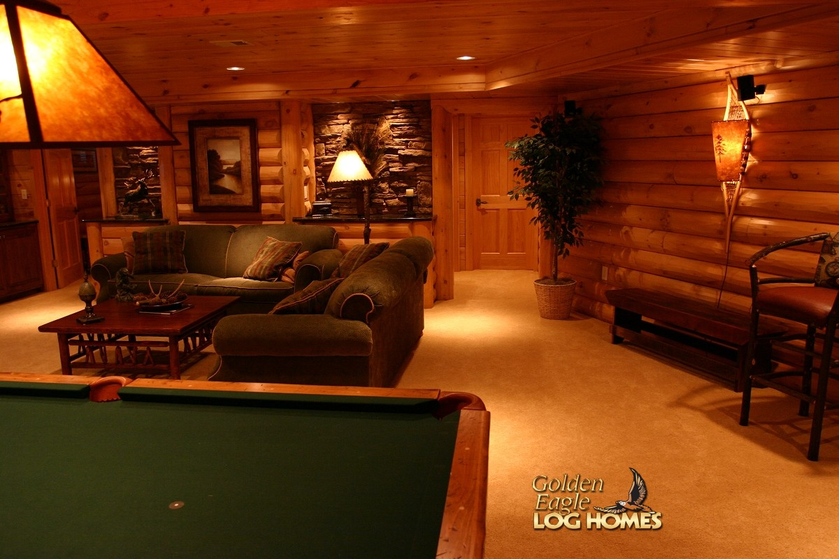 Golden eagle log and timber homes log home cabin for Log cabin plans with basement