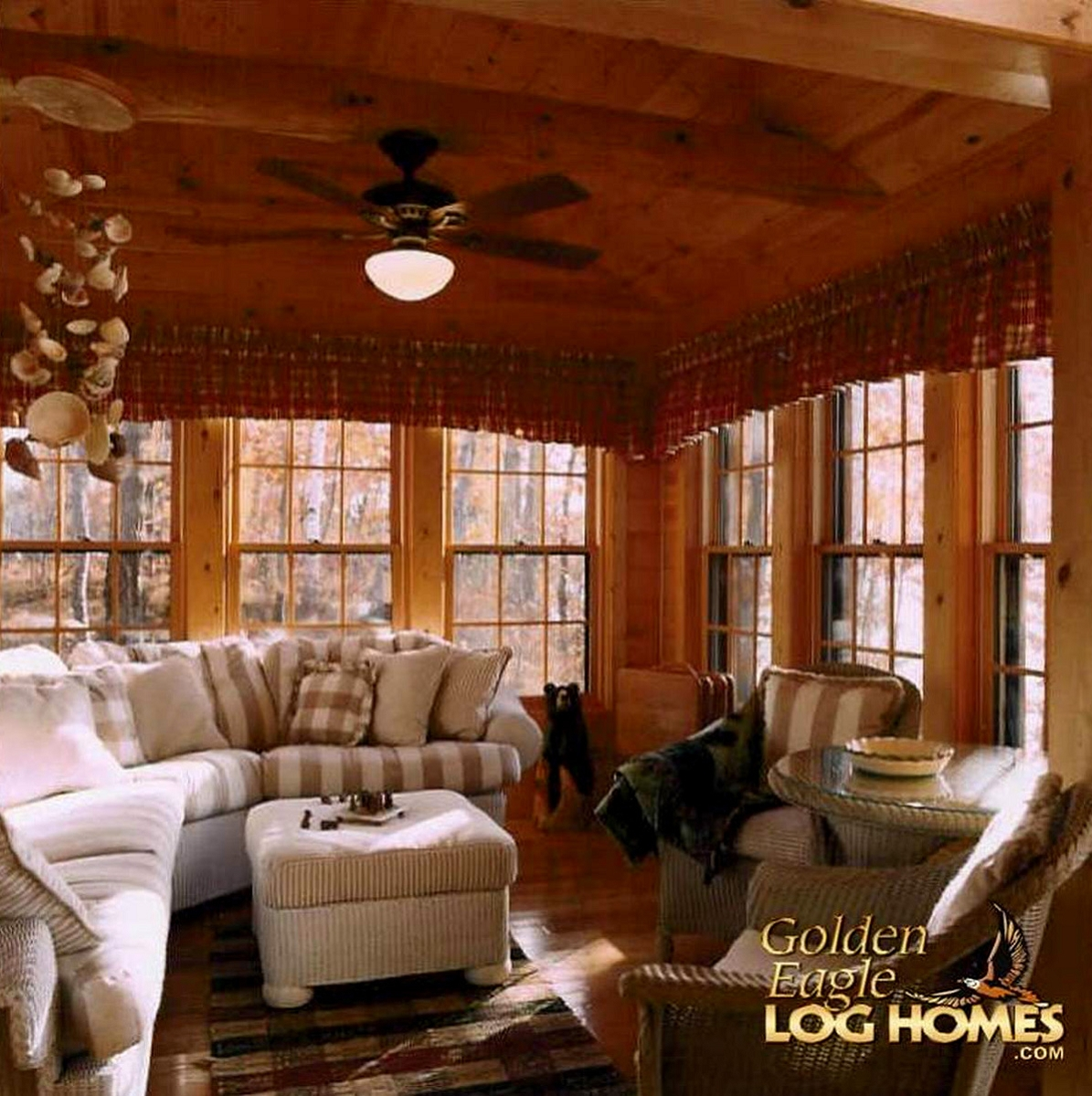 Golden eagle log and timber homes log home cabin for Log cabin sunrooms