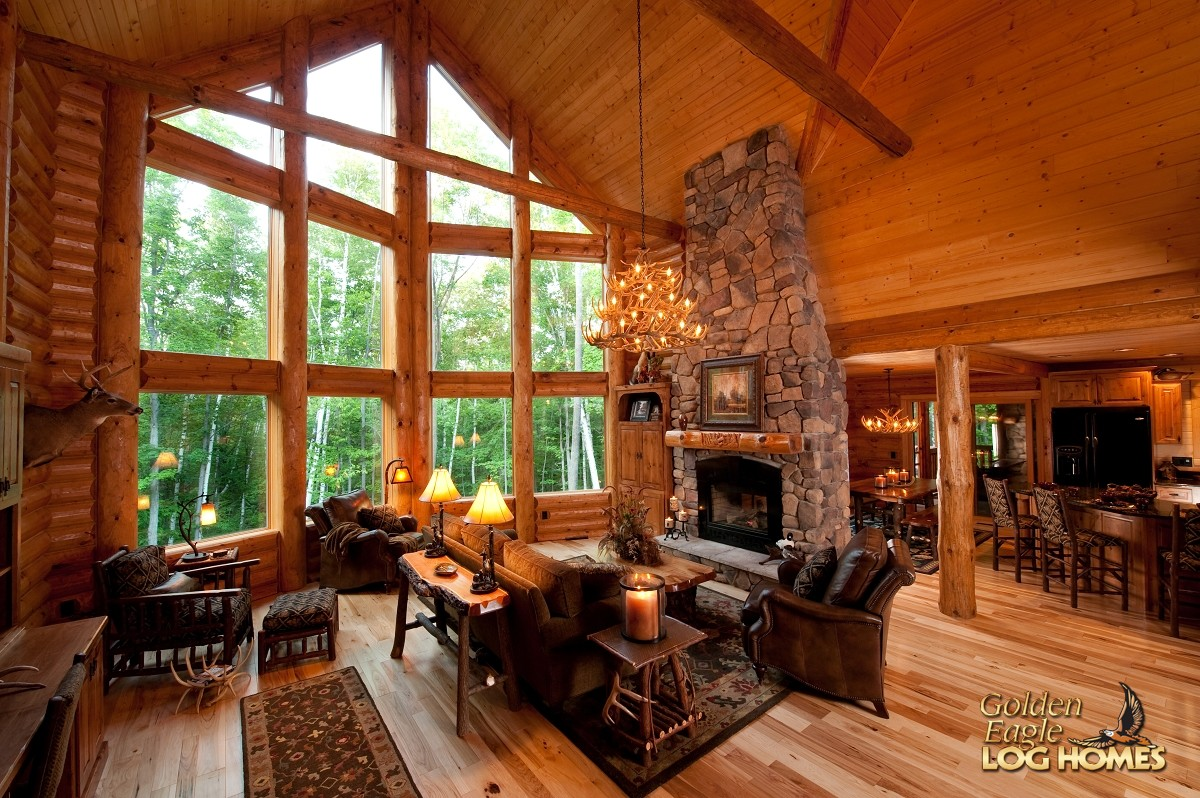 Golden eagle log and timber homes log home cabin for Great room home plans