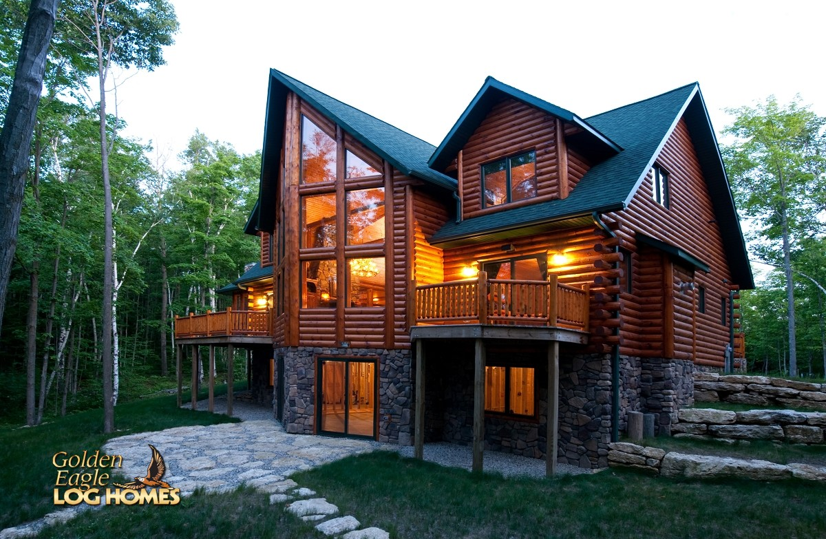 Golden eagle log and timber homes log home cabin for Lodge home designs