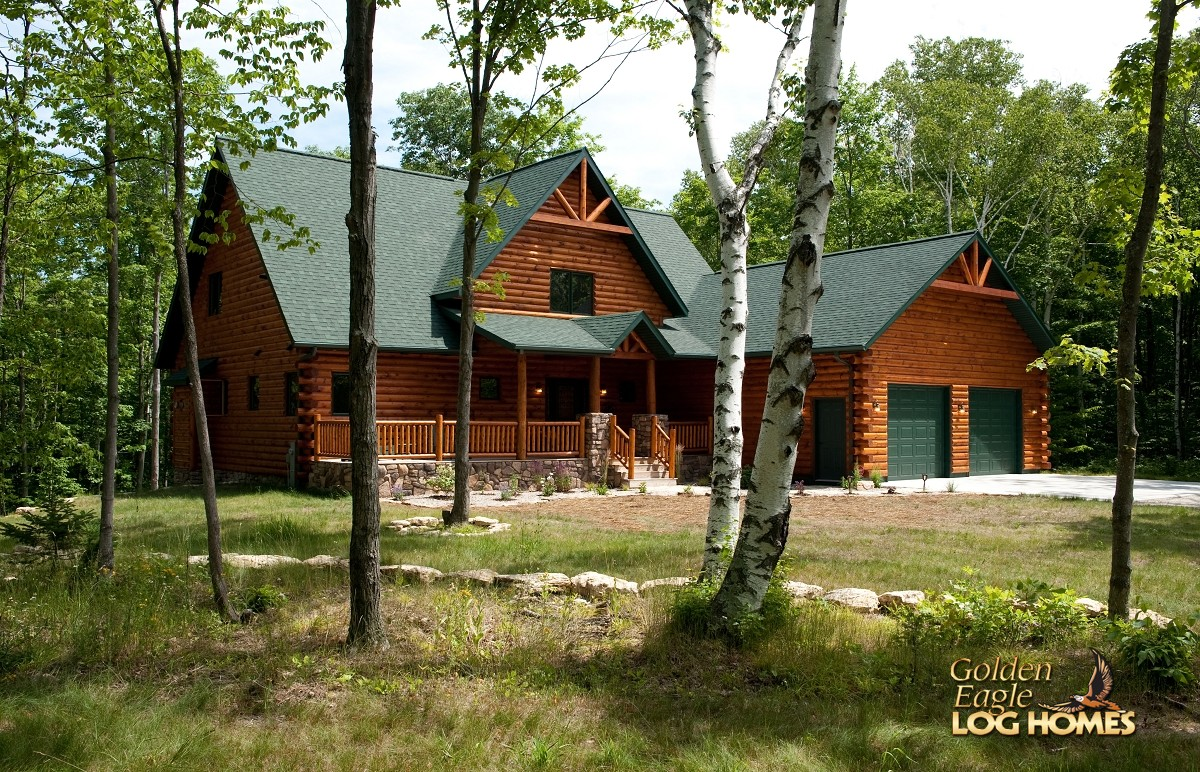 Golden eagle log and timber homes log home cabin for Butt and pass log home plans