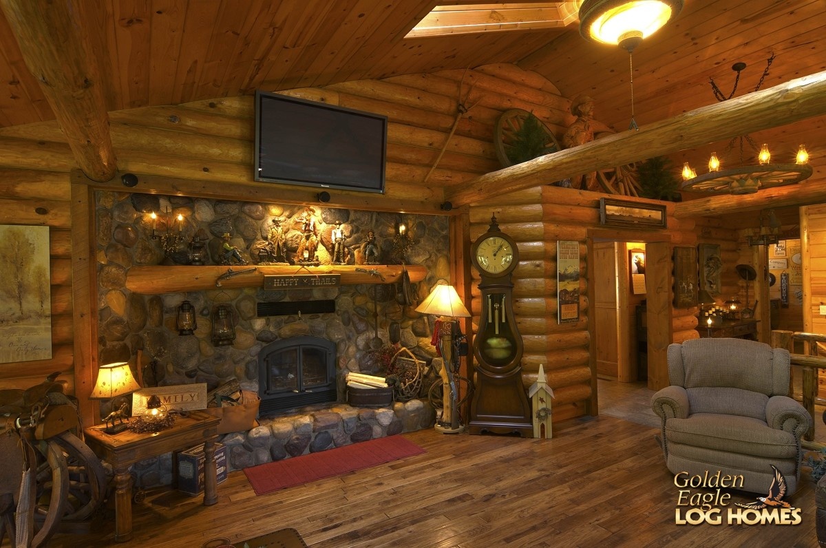 Golden eagle log and timber homes log home cabin for House plans with fireplace