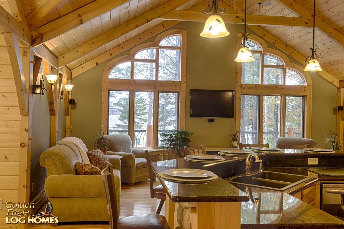 Golden eagle log homes log home cabin pictures photos for Great room home designs