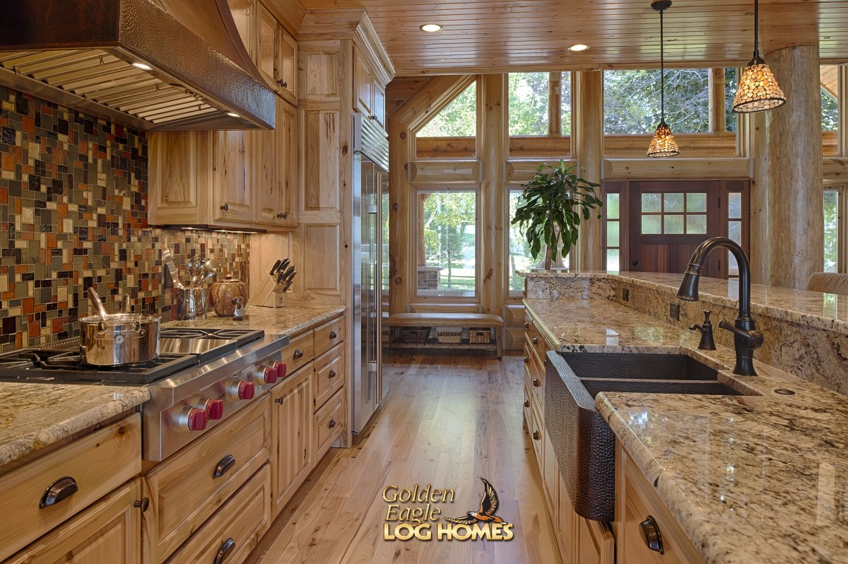 Golden eagle log and timber homes log home cabin for Log home kitchens gallery