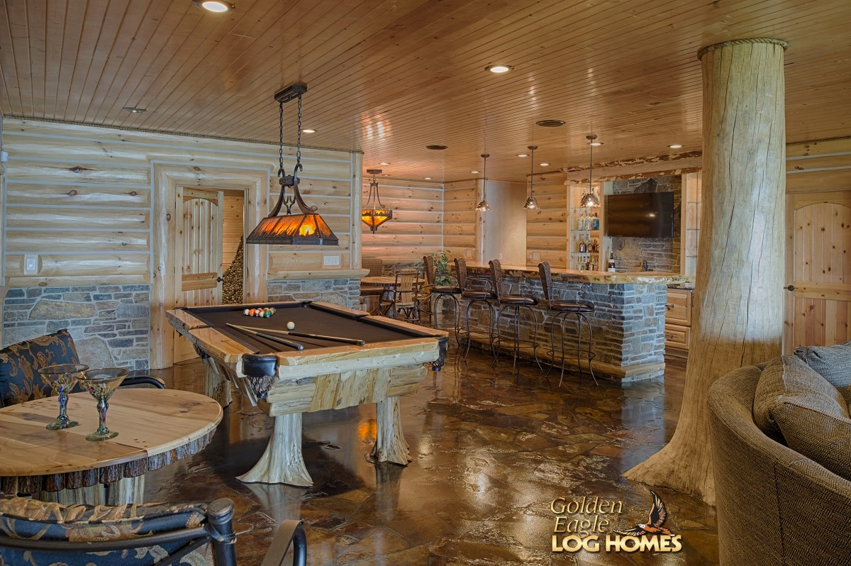 Golden eagle log and timber homes log home cabin for Home bar kits and plans