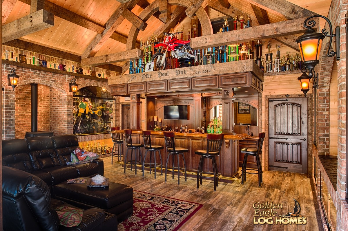 Golden eagle log homes log home cabin pictures photos for Home bar kits and plans