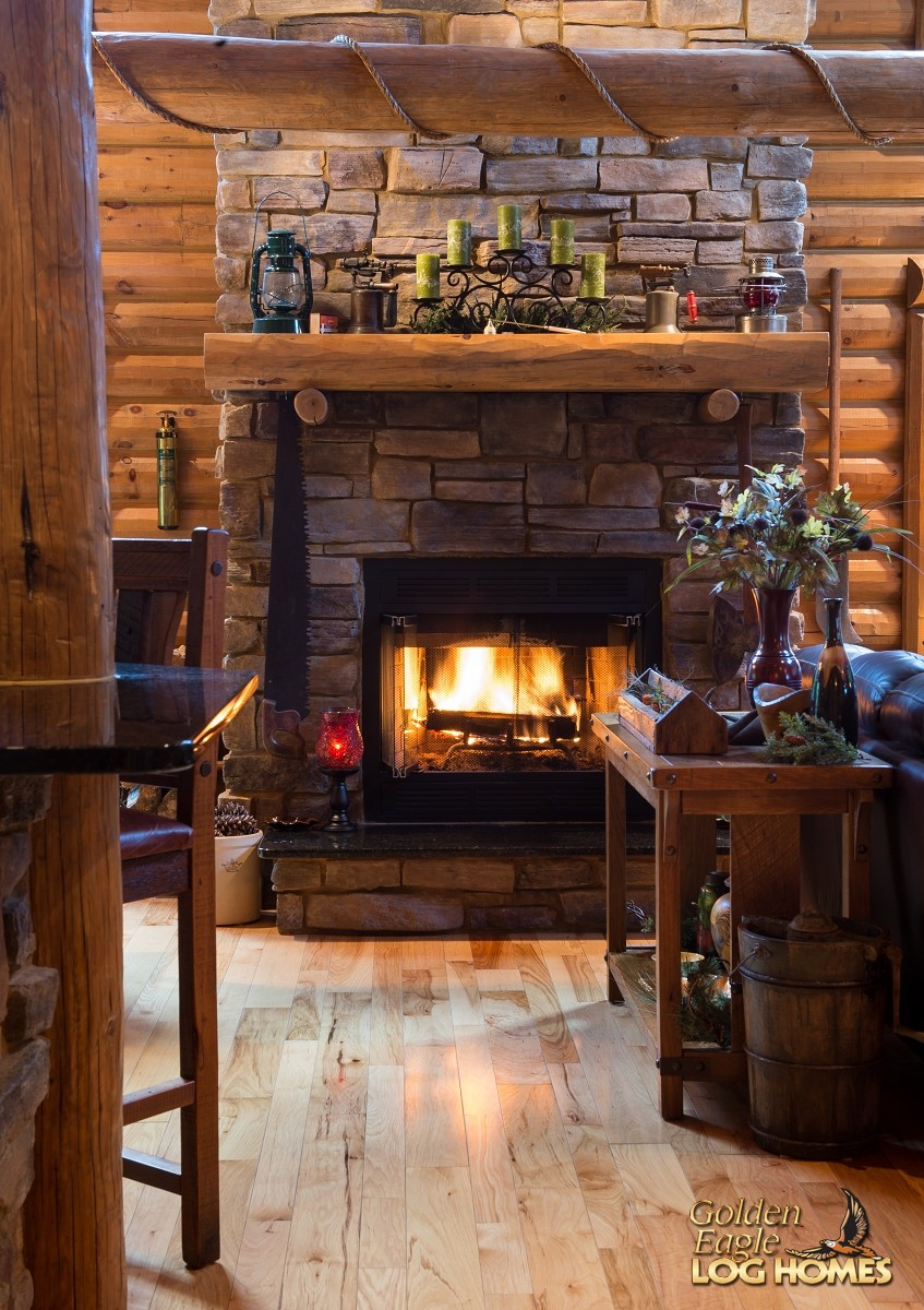 Great room fireplace for Log cabin fireplace designs