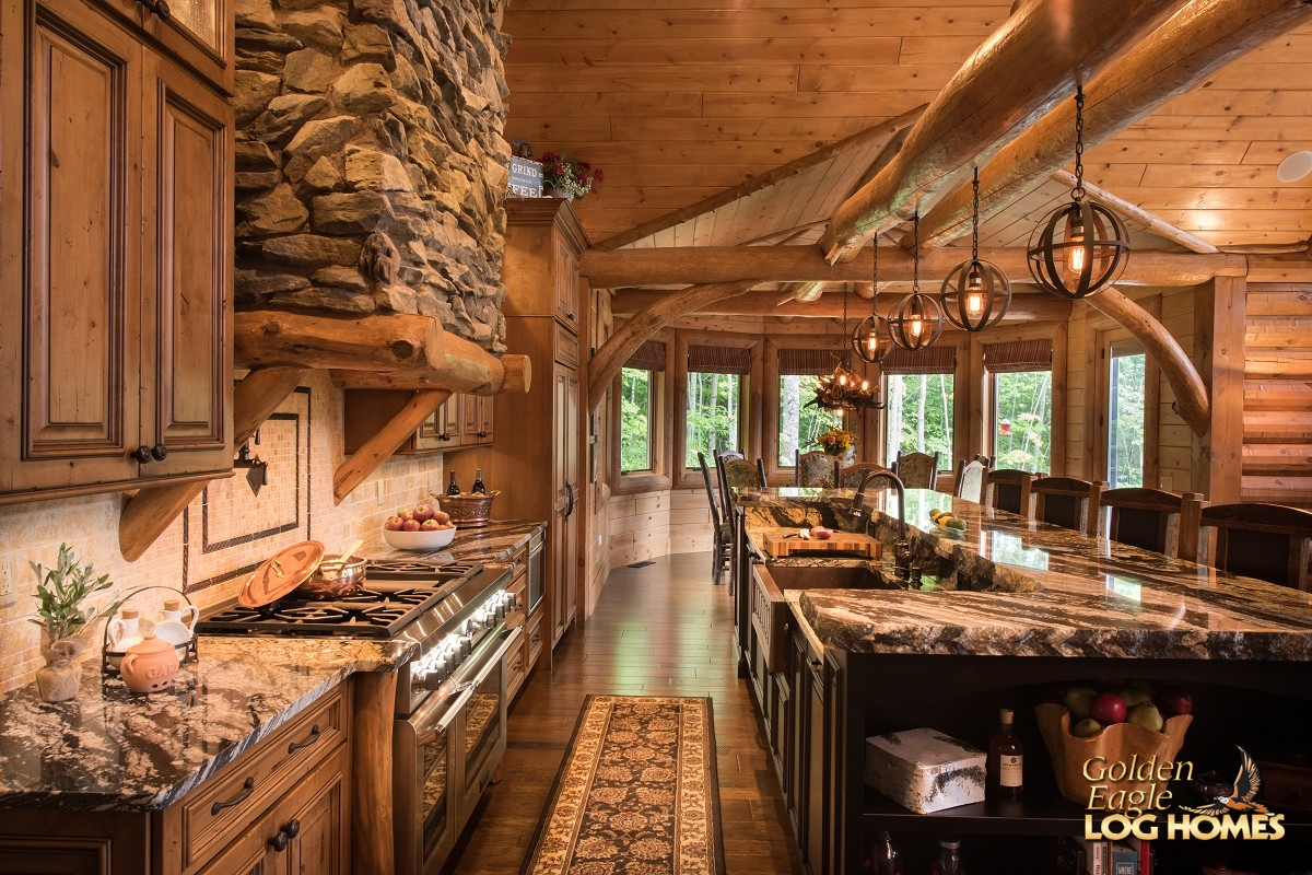 Rustic Pine Kitchen Cabinets Kitchen Area