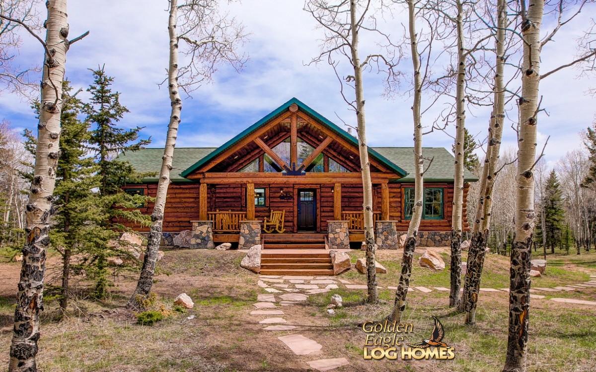 Golden eagle log homes log home cabin pictures photos for Log cabin ranch home plans