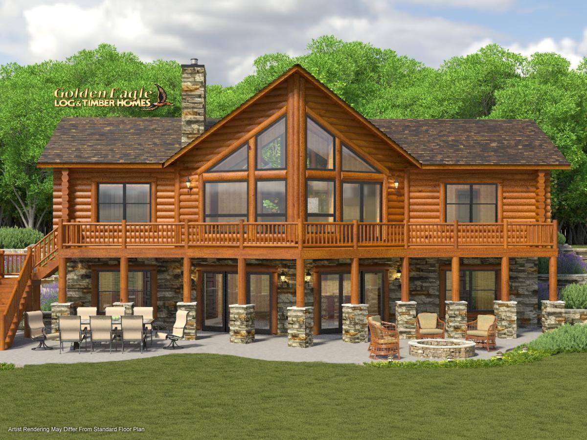 Golden Eagle Log and Timber Homes : Plans & Pricing : Plan Details : Ski  Home Prow 1418AR