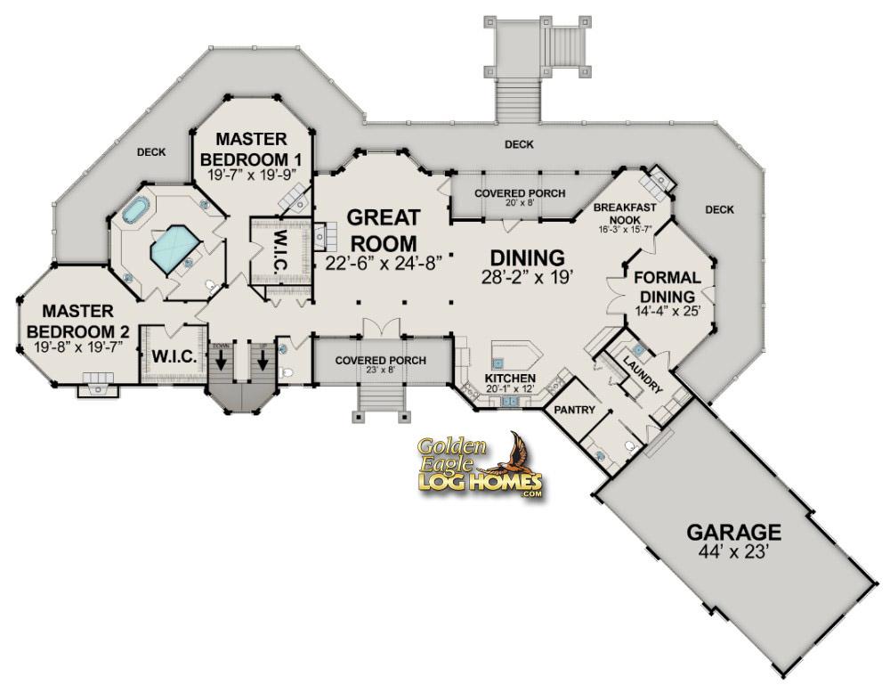 Golden eagle log and timber homes floor plan details for Fishing cabin floor plans