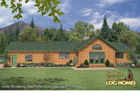 Ranch style log cabin floor plans gurus floor for Ranch style log home floor plans