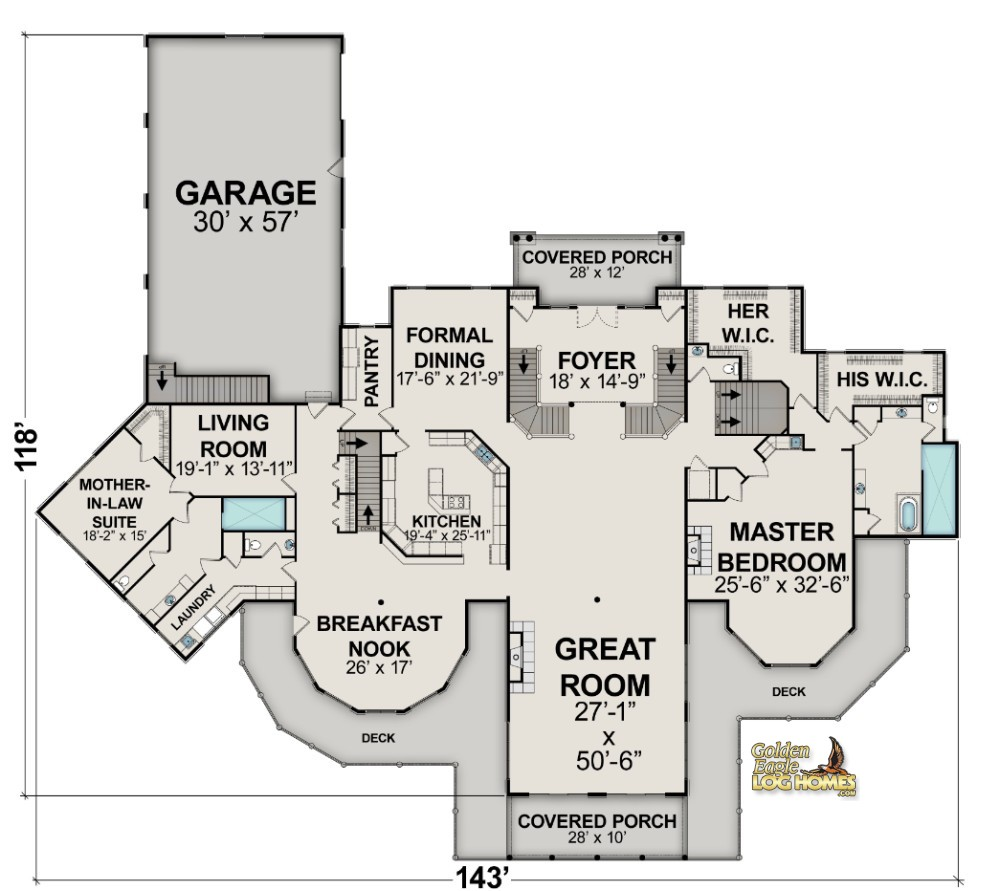 Golden eagle log and timber homes floor plan details log for Modern log home floor plans