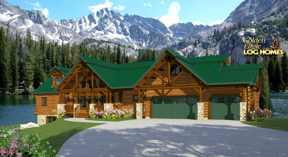 Golden eagle log and timber homes floor plan details for Lakehouse homes